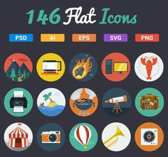 Get 140+ Professional Vector Flat Icons - only $6! - MightyDeals