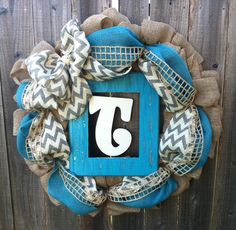 Chic Turquoise and Cheveron Personalized Burlap Wreath