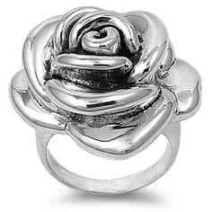 Sterling Silver 33mm Rose Flower Ring