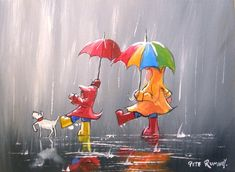Pete Rumney Art Original Canvas Painting Colourful Rain Art Kids Playing Dog NR Rain Art, Hand Painting Art, Kids Playing, Buy Art, Art For Kids, Hand Painted, Oil, The Originals, Canvas