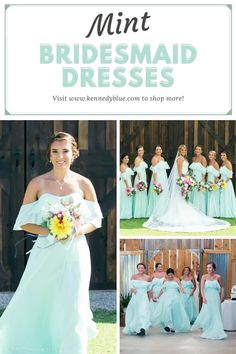Allison is an elegant and timeless off the shoulder chiffon dress. The color featured is 'Mint' blue which gives the wedding a refreshing and youthful vibe. Pair this dress with some vibrant flowers and make your summer wedding vision come to life! Available in 50+ colors, sizes 00-32, and easy to mix & match with other styles. Find your perfect bridesmaid dresses online at Kennedy Blue!   blue wedding ideas   mint blue   summer wedding   bridal party   unique bridesmaid dress   elegant dress Flowy Bridesmaid Dresses, Bridesmaid Dresses Online, Wedding Dresses, Summer Wedding Attire, Blue Wedding, Mint Blue, Elegant Dresses, Chiffon Dress, Wedding Styles