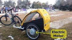 Bike Trailer with Electric Motor. The POWER to pedal with kids.  Mission: replace millions of short car trip with bicycle rides... every by peggy