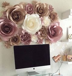 Luxury Paper Flowers Made From High Quality Metallic Pearl And Standard Designed These Flower Wall DecorFlowers DecorationWall