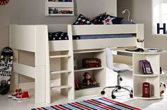 Solitaire White Midsleeper with Pull Out Desk and Bookcase