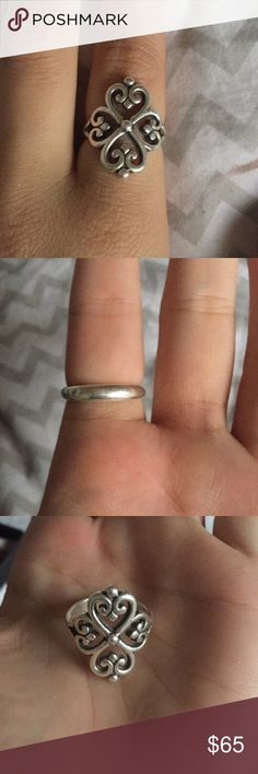 James Avery Adorned Hearts Sterling Silver Ring Worn for a few months only! Beautiful sterling silver ring that goes with any outfit! Size 7! OPEN TO OFFERS James Avery Jewelry Rings