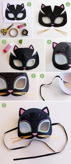 Katzenmaske basteln mit Vorlage zum ausdrucken