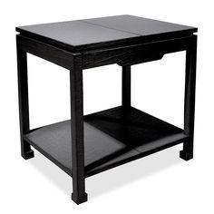 Jonathan Adler Preston Side Table With Drawer in Beds & Bedroom Furniture Asian Furniture, Shelf Furniture, Luxury Furniture, Bedroom Furniture, Black Furniture, Furniture Ideas, Black Accent Table, Black Side Table, White Side Tables