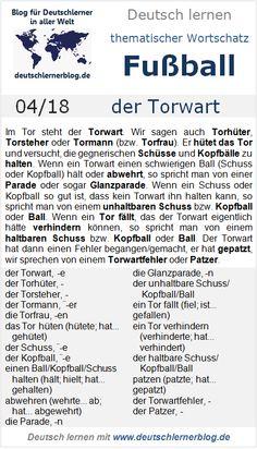 Thematischer Wortschatz, Fußball, 04/18: der Torwart German Grammar, German Language, World Languages, Learn German, Im Trying, Teaching Resources, Germany, School, Let It Be