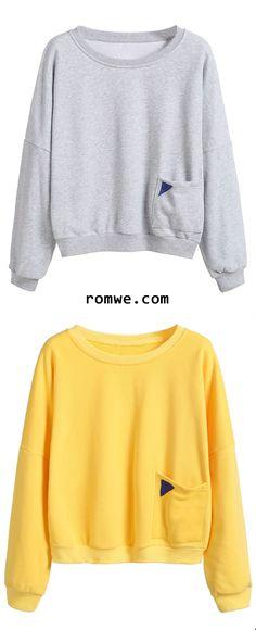 Heather Grey & Yellow Dropped Shoulder Seam Patch Pocket Sweatshirt