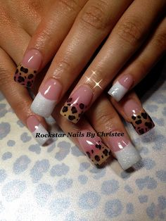 Rockstar pink and white and animal print acrylic nails