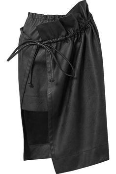 Black faux leather Slips on  62% polyester, 38% viscose  Dry clean