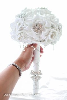 Winter White Wedding Bouquet, Bridal Bouquet, Rhinestone Bouquet, Jeweled Bouquet, Fabric Flowers. LOVE
