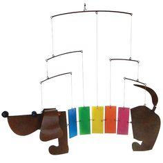 Artisan Crafted Rainbow Dachshund Mobile