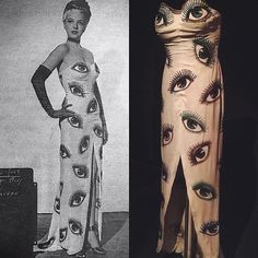 Eyes up here, buddy! Stunning surrealist gown designed by Orry Kelly for The Dolly Sisters, 1930s Fashion, Fashion Art, Fashion Beauty, Vintage Fashion, Fashion Design, Vintage Couture, Fashion Killa, Fashion Ideas, Photomontage