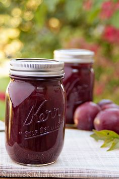 This two-ingredient plum jam recipe is really a cross between plum jam and plum preserves. It's awesome paired with breakfast pancakes or crepes. No Pectin no peel Plum Jam Recipes, Jelly Recipes, Fruit Recipes, Italian Plum Jam Recipe, Low Sugar Plum Jam Recipe, Plum Preserves, Jam And Jelly, Plum Jelly, Home Canning