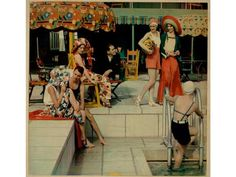 """An early color photo by Nickolas Muray, """"Bathing Pool Scene"""" is a tricolor carbro print that ran in Ladies Home Journal in 1930s Fashion, Retro Fashion, Vintage Fashion, Beach Fashion, Vintage Swim, Vintage Love, Vintage Stuff, Vintage Ads, Belle Epoque"""