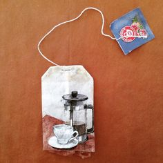 Hand painted recycled Tea Bag {titled; 'Wide Awake'} by; Ruby Silviou ... viia; Journey of a Tea Bag