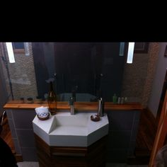 "White concrete slot drain ramp sink with a 6"" drop face. Bath Crashers 1"