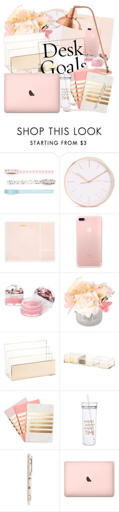 """Desk Goals"" by rayamokshina ❤ liked on Polyvore featuring interior, interiors, interior design, home, home decor, interior decorating, Sugar Paper, Forever 21, Kate Spade and StudioSarah"