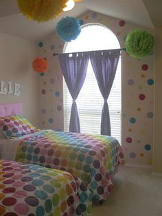 Easy DIY Fabric Wall Decals ~ If you're looking for a fun, temporary way to dress up your walls, check out this fabric decal tutorial from Aubrey of The Mother Huddle. She created simple circles for her daughters' room, but really the possibilities for making all kinds of designs and murals on your wall are endless. Plus, they are easily removable, making them great for renters or changing tastes.