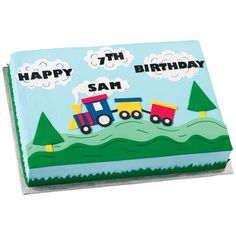 Take A Train Ride Birthday Cake - When this train pulls into your party station, you'll create a sensation! The scenery is great, with perky pine trees and colorful train cars cut with Sugar Sheets! Novelty Birthday Cakes, Birthday Cake Girls, 2nd Birthday Parties, Birthday Ideas, Birthday Stuff, 1st Birthdays, Wilton Cake Decorating, Cake Decorating Tools, Decorating Ideas
