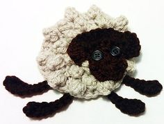 """A cute little sheep to embellish and place on a number of things to show your love for wool! I've made them for placing on project bags, as coasters and even as party bunting for """"I Love Yarn"""" Day! Crochet Sheep, Crochet Motif, Free Crochet, Knit Crochet, Crochet Hats, Crochet Appliques, Knitting Patterns, Crochet Patterns, Party Bunting"""