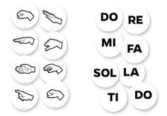 Music-Go-Rounds HAND SIGNS & SOLFEGE SYLLABLES Set includes 8 Hand Signs Dots and 8 Solfege Syllables Dots.