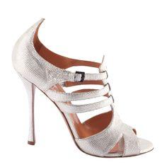 Silver strappy sandal by Edmundo Castillo, bride, bridal, wedding shoes, bridal shoes, wedding, bride shoes, designer shoes, haute couture, silver shoes