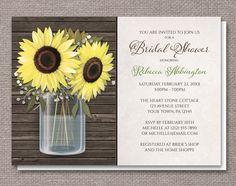 Sunflower Wood Mason Jar Rustic Bridal Shower Invitations