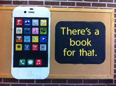 "Library Bulletin Board - I already have these genre symbols printed out and laminated! And I already have an ""iPad""! New bulletin board with minimal work!"