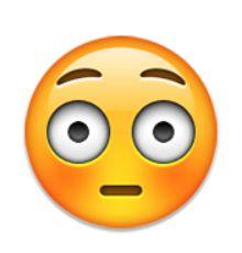 fronçant les sourcils visage avec la bouche ouverte emojis