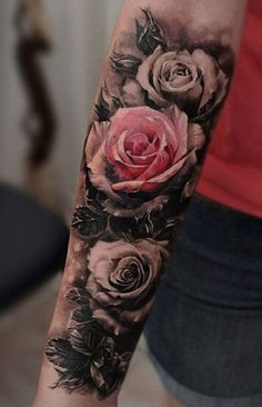 Vintage Rose Arm Sleeve Tattoo - MyBodiArt.com