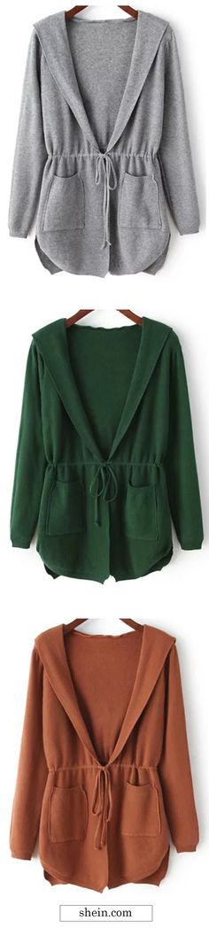 Hooded Long Sleeve Pockets Cardigan.By shein.
