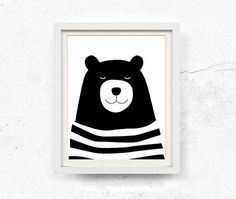 Bear illustration, Nursery wall art, Children's print, Black and white, Bear printable, Kids print, Digital download, from WallOfPrintables on Etsy.