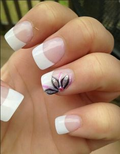 Finger Nail Designs Collection love the french manicure and th design on one finger Finger Nail Designs. Here is Finger Nail Designs Collection for you. Flower Nail Designs, Pretty Nail Designs, Nail Designs Spring, Nail Art Designs, Nails Design, French Tip Nail Designs, Spring Design, French Tip Design, Fingernail Designs