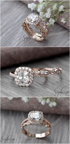 Set of 2 Brilliant Cushion Cut Engagement Ring with Art Deco band in 14k Rose Gold Stacking Bridal Set Wedding Ring Band Set by Sapheena #cushioncut #bridaljewelry #cushioncutring
