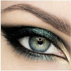 MAC Colors:  Antique Green in center of lid & lower lash line, Golden Lemon in the inner corner & Smolder on outer lid & used as eyeliner.  Love this look!