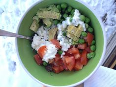 Quick & Easy Lunch: cottage cheese, peas, tomato, avocado, pepper, and chia seeds.
