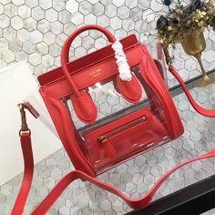 f7c7786732a7 Celine Nano Luggage Bag in Calfskin   PVC Red 2018