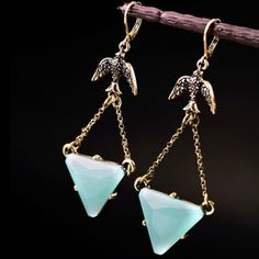 Pair of Trendy Faux Gemstone Triangle Drop Earrings For Women-3.83 and Free Shipping| GearBest.com