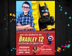 Birthday invitations, Lego birthday invitation, lego party invitation, Birthday lego batman by PrintablesForEvents on Etsy