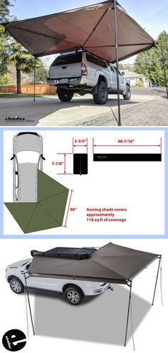 This awning can be set up anywhere you can park. It's perfect for tailgaters, campers, tradesmen. Really, if you like shade, we've got you covered.