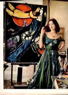 Chagall's studio and model Ivy Nicholson circa 1955