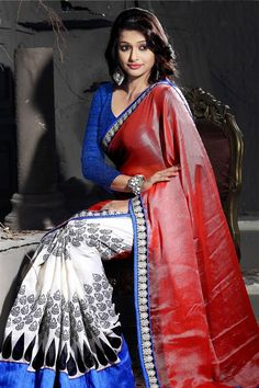 Trendy White, Firebrick Brasso Printed Saree with Lace Border