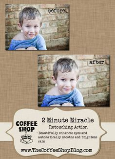 I am so excited to release my newest free retouching action, CoffeeShop 2 Minute Miracle. This does not replace any of my old retouching ...