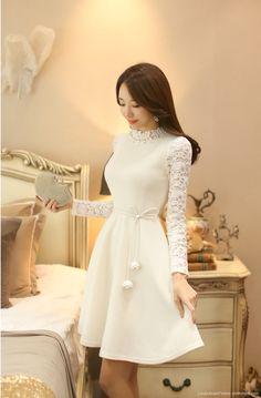 Pearl Neckline Lace Sleeve Flared Dress - Romantic & Trendy Looks, Styleonme - Asian Fashion, Hijab Fashion, Fashion Dresses, Classy Outfits, Beautiful Outfits, Cute Outfits, Elegant Dresses, Nice Dresses, Prom Dresses