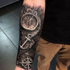 125 Best Arm Tattoos For Men - Awesome Compass Anchor Map Lower Arm Tattoo Desi. - 125 Best Arm Tattoos For Men – Awesome Compass Anchor Map Lower Arm Tattoo Designs – Best Arm - Forearm Cover Up Tattoos, Lower Arm Tattoos, Arm Sleeve Tattoos, Cover Tattoo, Around Arm Tattoo, Family First Tattoo, Simple Tattoos For Guys, Arm Tattoos For Guys, Best Mens Arm Tattoos