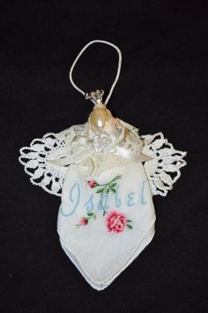 Angel Ornament  Handmade with a Vintage hanky by creatingwithni