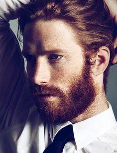 Johnny Harrington. My male model crush. // Ginger. Freckles. Beard. Dapper.