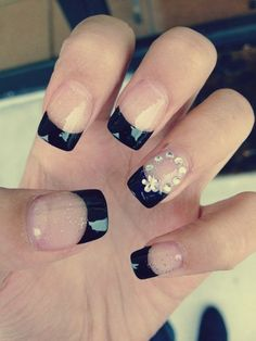 french manicure with black tips and diamond accent nail
